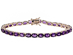Purple amethyst 18k rose gold over silver tennis bracelet 11.18ctw