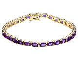 Purple African amethyst 18k yellow gold over sterling silver tennis bracelet 11.18ctw