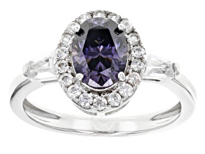 Purple Lab Created Strontium Titanate Sterling Silver Ring 2.36ctw