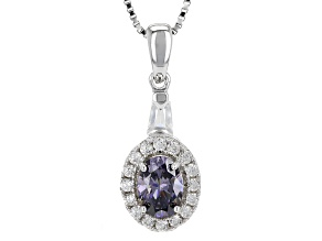 Purple Lab Created Strontium Titanate Sterling Silver Pendant With Chain 1.32ctw