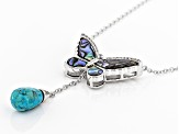 Multi Color Abalone Shell Sterling Silver Necklace .31ctw