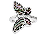 Multi Color Abalone Shell Sterling Silver Ring .12ctw
