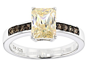 White Fabulite Strontium Titanate And Champagne Diamond Silver ring 2.64ctw