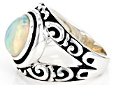 Multicolor Ethiopian Opal Sterling Silver Solitaire Ring 1.57ct