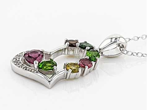 Multicolor Gemstone Silver Pendant With Chain 1.05ctw