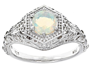 Multicolor Ethiopian Opal Sterling Silver Solitaire Ring .34ct