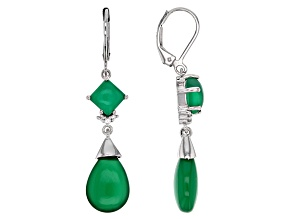 Green Chalcedony Silver Earrings .07ctw