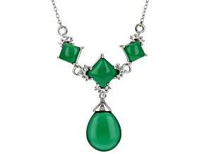 Green Chalcedony Silver Necklace .26ctw