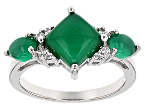 Green chalcedony Silver Ring .10ctw