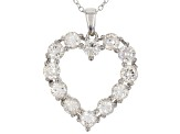 White Fabulite Strontium Titanate rhodium over silver heart pendant with chain 3.76ctw