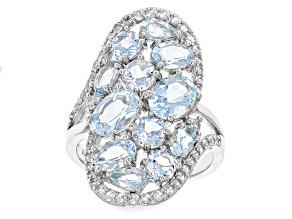 Blue Aquamarine Sterling Silver Ring 4.77ctw