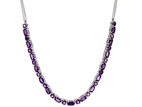 Purple Amethyst Silver Necklace 4.14ctw