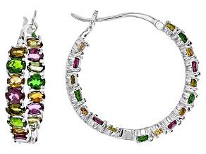 Multi Color Silver Hoop Earrings 9.12ctw