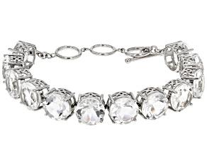 White Crystal Quartz Sterling Silver Bracelet 57.12ctw