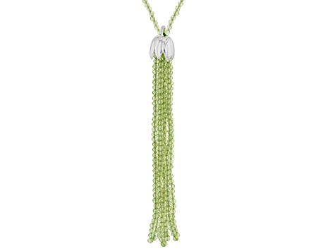 Green peridot sterling silver necklace