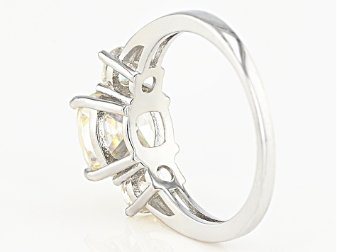White Fabulite Strontium Titanate Sterling Silver Ring 4.08ctw