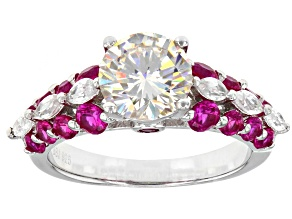 Fabulite Strontium Titanate And Lab Created Ruby With White Zircon Sterling Silver Ring 3.38ctw
