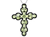 Green Peridot Rhodium Over Sterling Silver Pendant With Chain 8.60ctw