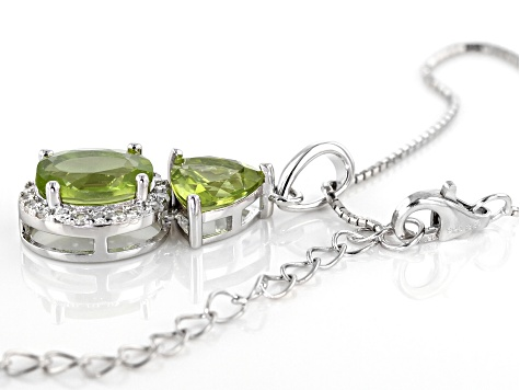 Green Peridot Sterling Silver Pendant With Chain 3.05ctw