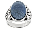Blue Peruvian Opal Sterling Silver Ring