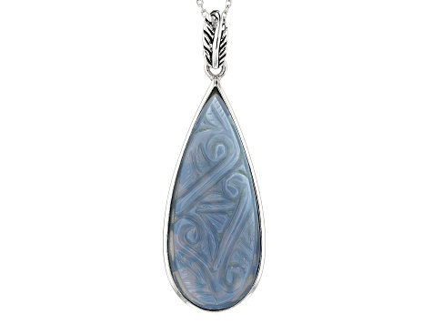 Blue Opal Sterling Silver Pendant With Chain
