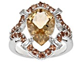 Brown Champagne Quartz Silver Ring 4.10ctw