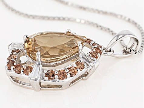Brown Champagne Quartz Silver Pendant With Chain 3.90ctw