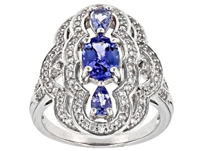 Blue tanzanite rhodium over sterling silver ring 1.68ctw