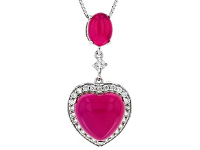 Pink onyx rhodium over sterling silver heart pendant with chain .69ctw
