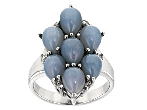 Blue Opal Sterling Silver Ring .13ctw