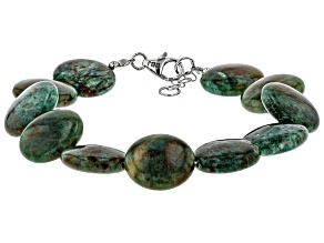 Green aventurine quartz rhodium over sterling silver bracelet