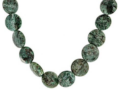 Green aventurine quartz rhodium over sterling silver necklace