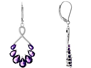 Purple Amethyst Rhodium over Sterling Silver Earrings 5.02ctw