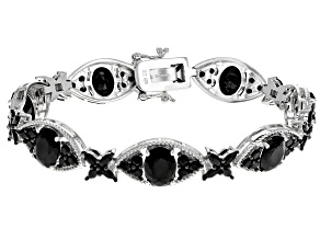 Black Spinel Rhodium Over Sterling Silver Bracelet 20.03ctw