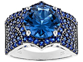 Blue lab created spinel sterling silver ring 5.34ctw