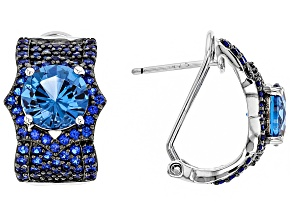 blue lab created spinel sterling silver earrings 4.87ctw