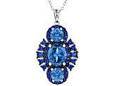 Blue Lab Spinel Rhodium Over Sterling Silver Pendant With Chain 5.24ctw