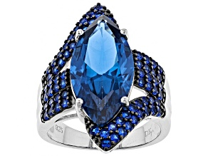 Blue Lab Created Spinel Sterling Silver Ring 7.66ctw