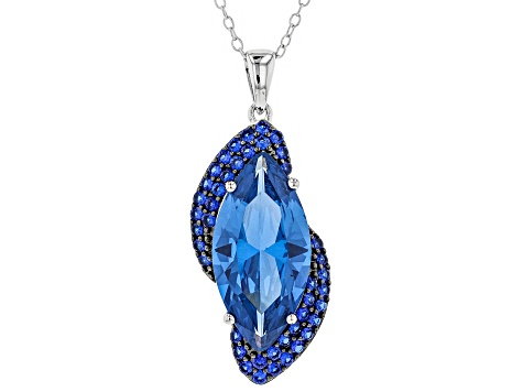 Blue Lab Created Spinel Silver Pendant With Chain 7.22ctw