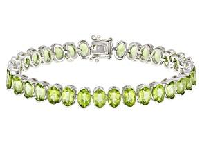 Green Peridot Sterling Silver Bracelet 26.78ctw