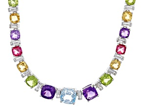 Multi-gem sterling silver necklace 27.97ctw