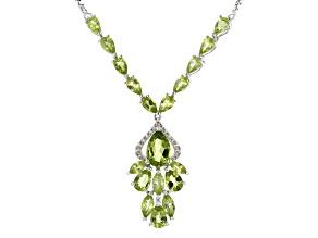 Green peridot rhodium over silver bolo necklace 5.33ctw
