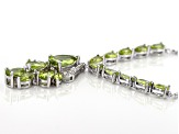 Green peridot rhodium over silver bolo necklace 5.33ctw