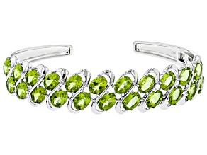 Green Peridot Sterling Silver Bangle Bracelet 15.33ctw