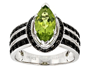 Green peridot rhodium over sterling silver ring 2.43ctw