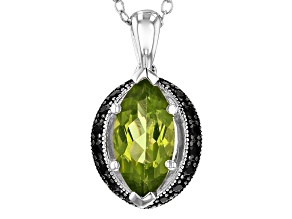 Green peridot rhodium over sterling silver pendant with chain 1.98ctw