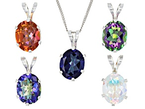 Mystic Topaz® Assortment Silver 5 Pendants With 1 Chain Set 12.00ctw