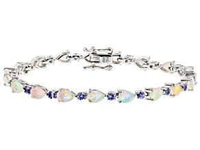 Multicolor Ethiopian Opal Sterling Silver Bracelet 5.61ctw
