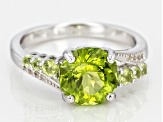Green peridot sterling silver ring 3.08ctw