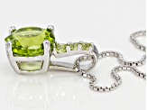Green peridot sterling silver pendant with chain 3.03ctw